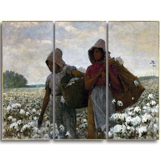 Design Art 'Winslow Homer - The Cotton Pickers' Canvas Art Print - 36Wx32H Inches - 3 Panels
