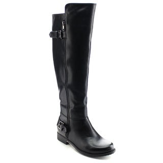 DAVICCINO AA29 Women's Buckle Strap Side Zip Flat Heel Knee High Riding Boots