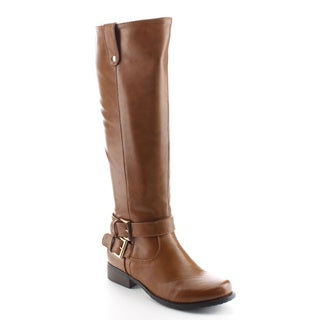 DAVICCINO AA28 Women's Side Zip Buckle Strap Flat Heel Knee High Riding Boots