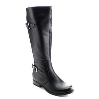 DAVICCINO AA32 Women's Elastic Buckle Strap Side Zip Chunky Knee High Boots