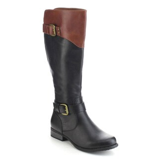 DAVICCINO AA33 Women's Two Tone Buckle Ankle Strap Knee High Riding Boots