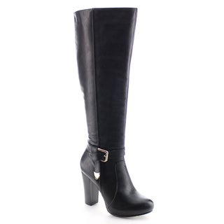 DA VICCINO AA35 Women's Elastic Ankle Strap Chunky Knee High Chunky Dress Boots