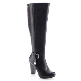 DA VICCINO AA35 Women's Elastic Ankle Strap Chunky Knee High Chunky Dress Boots