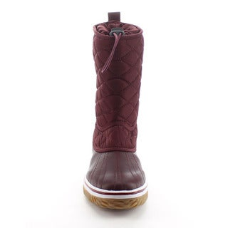 DAVICCINO AA42 Women's Lace Up Waterproof Quilted Mid Calf Winter Snow Boots