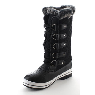 DAVICCINO AA48 Women's Lace Up Waterproof Quilted Mid-calf Weather Snow Boots