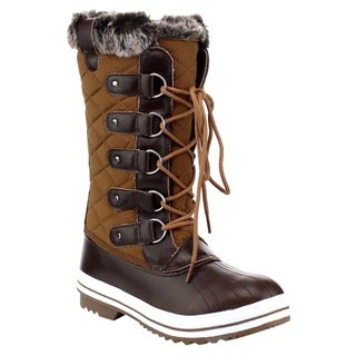 DAVICCINO AA48 Women's Lace Up Waterproof Quilted Mid Calf Weather Snow Boots