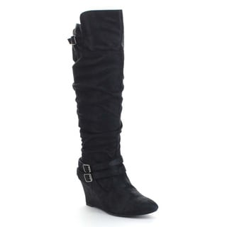 QUPID VALLEY-07 Women's Slouchy Buckle Strap Wedge Heel Side Zip Knee High Boots