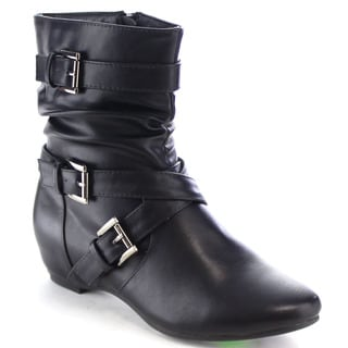 Da Viccino CA15 Women's Buckle Strap Hidden Wedge Mid Calf Slouch Boots