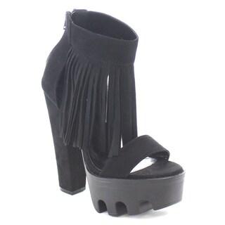 Wild Diva VIVE-68 Women's High Chunky Heel Platform Fringe Ankle Booties