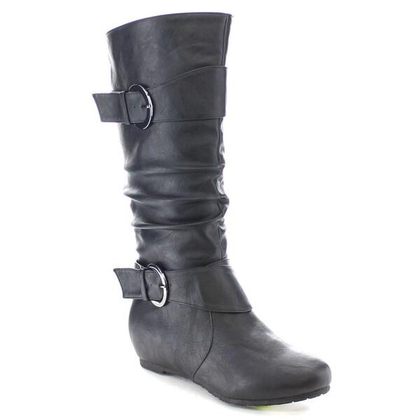 Wild Diva CANDIES-15 Women's Stylish Low Heel Knee High Buckle Riding Boots