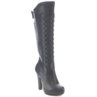 Wild Diva ELIZABETH-01 Women's High Heel Platform Knee High Quilted Riding Boots