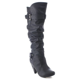 Wild Diva MERTON-03 Women's Round Toe High Heel Knee High Buckle Riding Boots