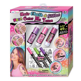 Hot Focus Hair Chalk and Glitter Neon Tattoo Gift Set