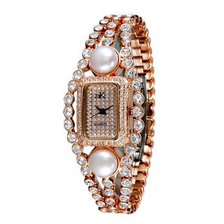 "Adee Kaye LadiesAK9-70LRG/CR ""Fame Collection"" Timepiece-Silver tone"