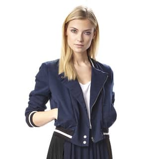 French Connection Grand Adventures Navy Blue Cotton Bomber Jacket|https://ak1.ostkcdn.com/images/products/10594680/P17668191.jpg?impolicy=medium