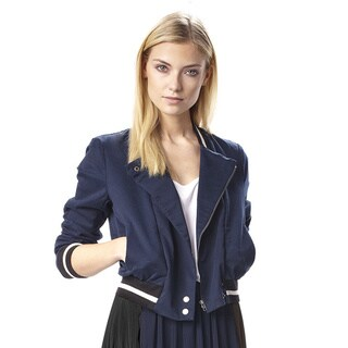 French Connection Grand Adventures Navy Blue Cotton Bomber Jacket