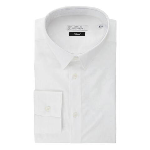 Versace Collection White Paisley Stretch Cotton Dress Shirt