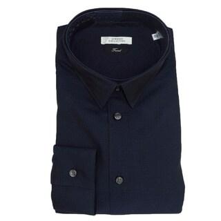 Versace Collection Navy Blue 100-percent Cotton Long Sleeve Shirt