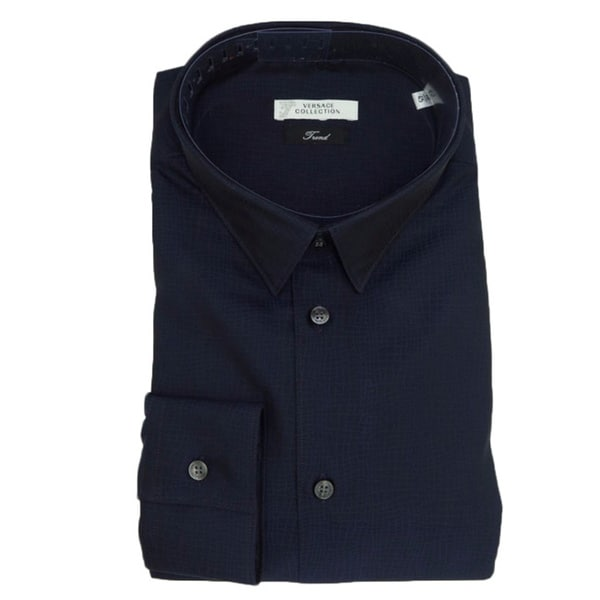 bab27a01 Shop Versace Collection Navy Blue 100-percent Cotton Long Sleeve Shirt -  Free Shipping Today - Overstock - 10594702