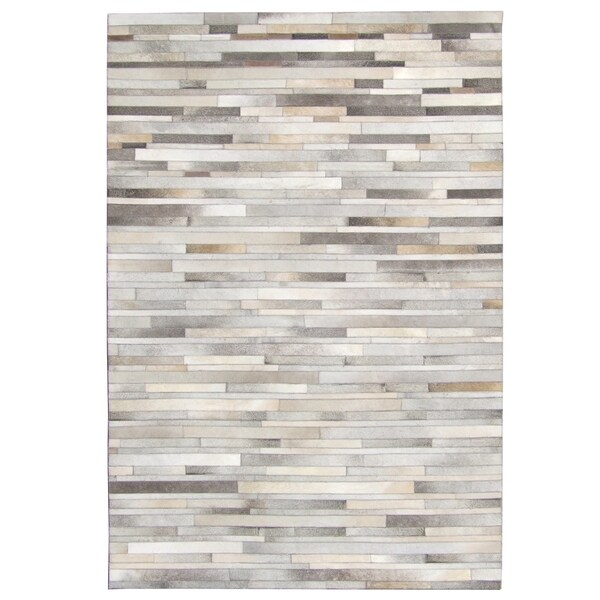 Hand Stitched Grey Cow Hide Leather Rug 5 X 8 Free