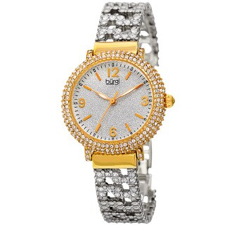Burgi Women's Quartz Swarovski Element Crystal Gold-Tone Bracelet Watch