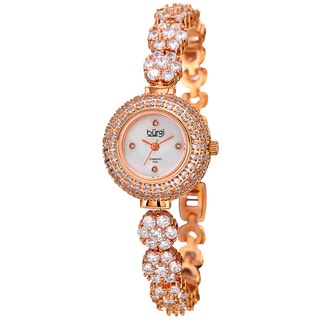 Burgi Women's Quartz Diamond Rose-Tone Bracelet Watchch