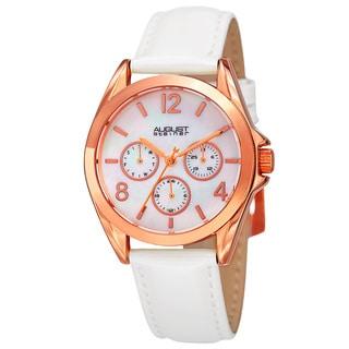 August Steiner Women's Quartz 24-Hour Indicator Multifunction Leather White Strap Watch