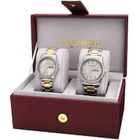 Akribos XXIV 'His & Hers' Quartz Crystal-accented Stainless Steel Two-Tone Bracelet Watch with FREE Bangle
