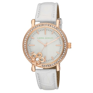 Laura Ashley Women's Floral Stone Bezel With Genuine Mother of Pearl Dial Watch