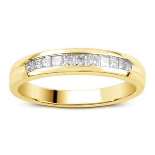 Divina 14kt Gold 1/4ct TDW Princess-Cut Diamond Channel Set Wedding Band (H-I,SI2- I1 )
