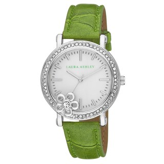 Laura Ashley Women's Floral Stone Bezel Genuine Mother of Pearl Dial Watch