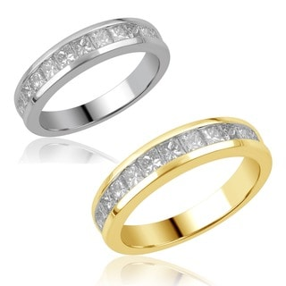 Divina 14k Gold 1ct TDW Princess-cut Channel-set Diamond Band (H-I, SI2-I1)