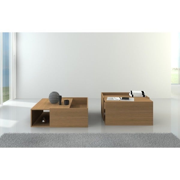 Modern Timber Coffee Table With Storage   Free Shipping Today    Overstock.com   17668275