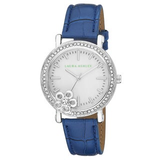 Laura Ashley Ladies Floral Stone Bezel With Genuine Mother of Pearl Dial Watch