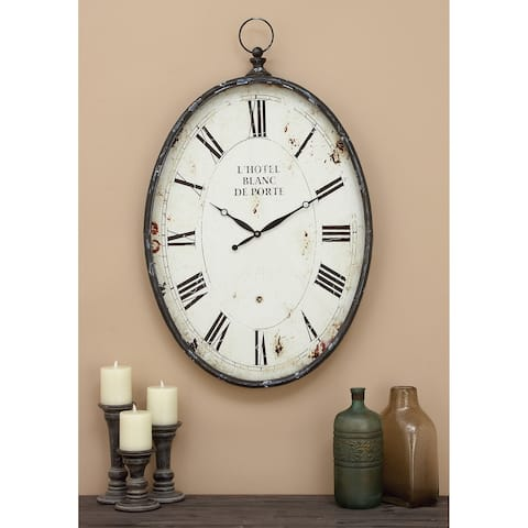 Traditional 37 x 23 inch Distressed Iron Analog Clock by Studio 350