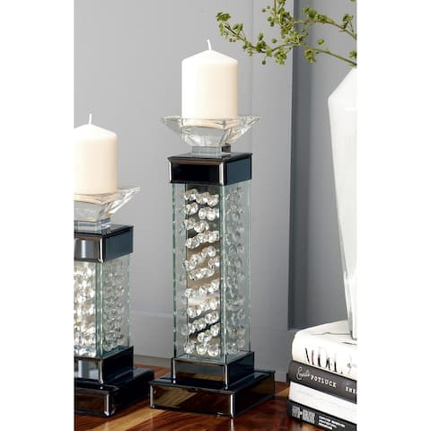 Tall Glass encased Crystal Bubble Candleholder