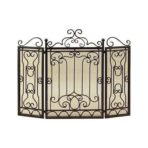 Gracewood Hollow Ignatia Bronze Three Panel Fireplace Screen