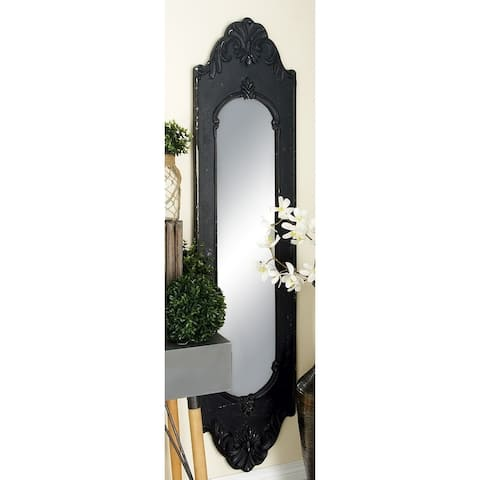 Traditional Carved Oval Brown Wooden Framed Wall Mirror by Studio 350