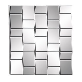 Modern 39 x 36 Inch Wood and Mirror Tile Wall Decor by Studio 350 - Silver