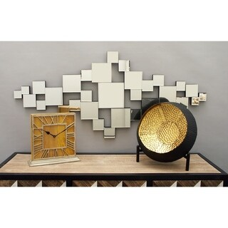 Modern 22 x 48 Inch Abstract Square Wooden Wall Mirror by Square 350 - Silver
