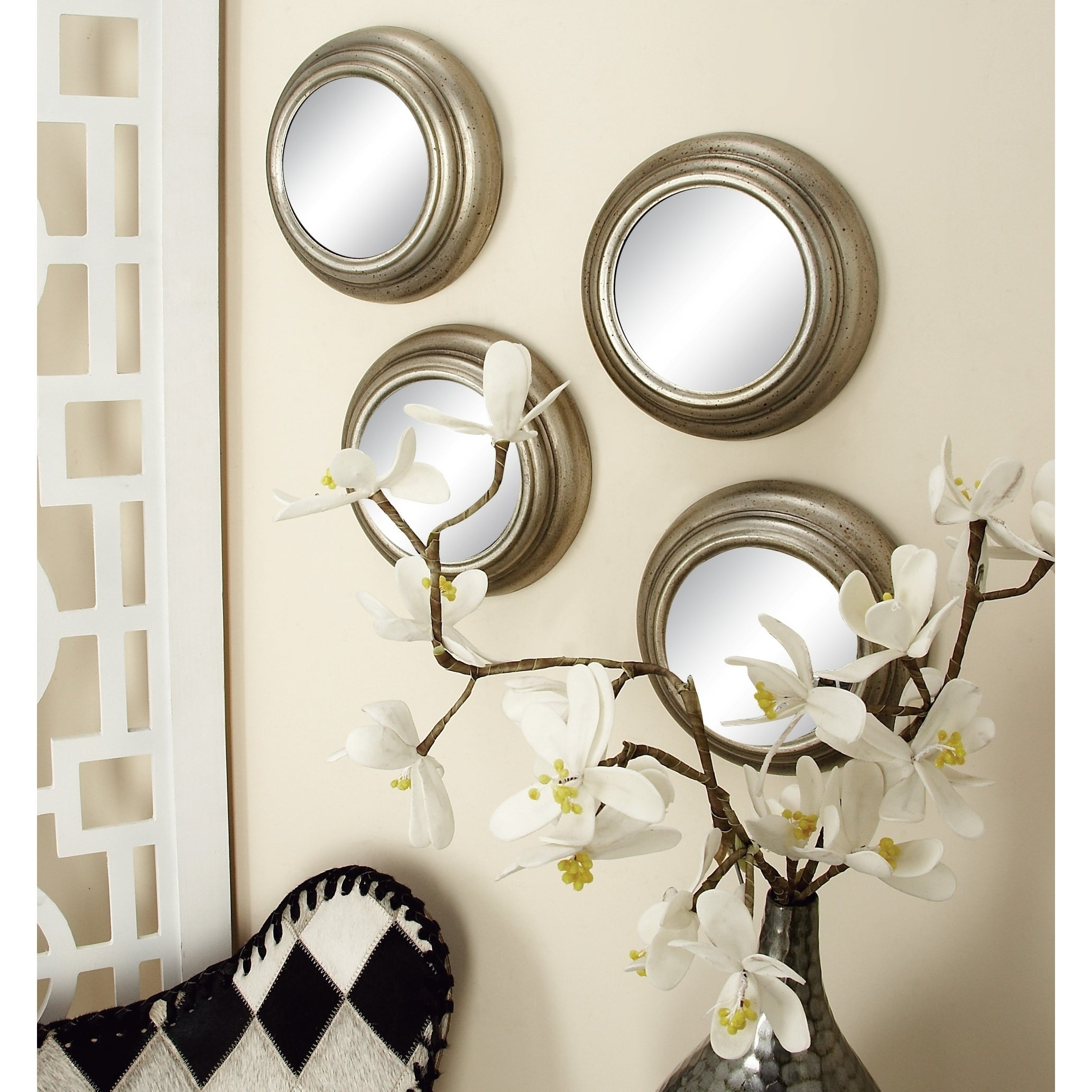 Set Of 12 Contemporary Round Decorative Wall Mirrors By Studio 350 Silver