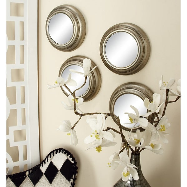 Set of 12 Contemporary Round Decorative Wall Mirrors by Studio 350 - Silver