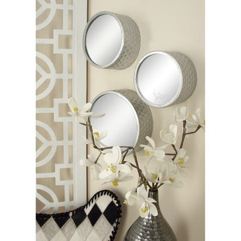 Strick & Bolton Buri Round Silver Mirrors (Set of 7)