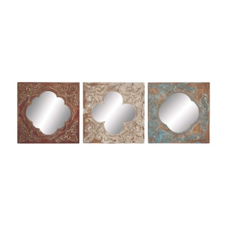 Embossed Fleur Mirrors (Set of 3)