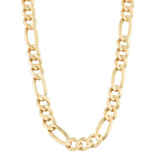 Fremada 14k Yellow Gold 8.5 millimeters Men's High Polish Solid Figaro Link Chain Necklace (22 or 26 inches)|https://ak1.ostkcdn.com/images/products/10594861/P17668376.jpg?impolicy=medium