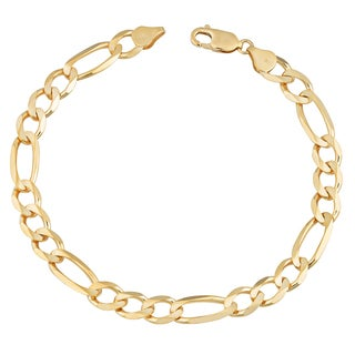 Fremada 14k Yellow Gold 7.4-mm Men's High Polish Solid Figaro Link Bracelet (9 inches)