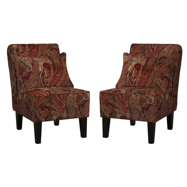 Paisley Accent Chair Under 150: Handy Living Jules Soft Velvety Paisley Red Wine Armless