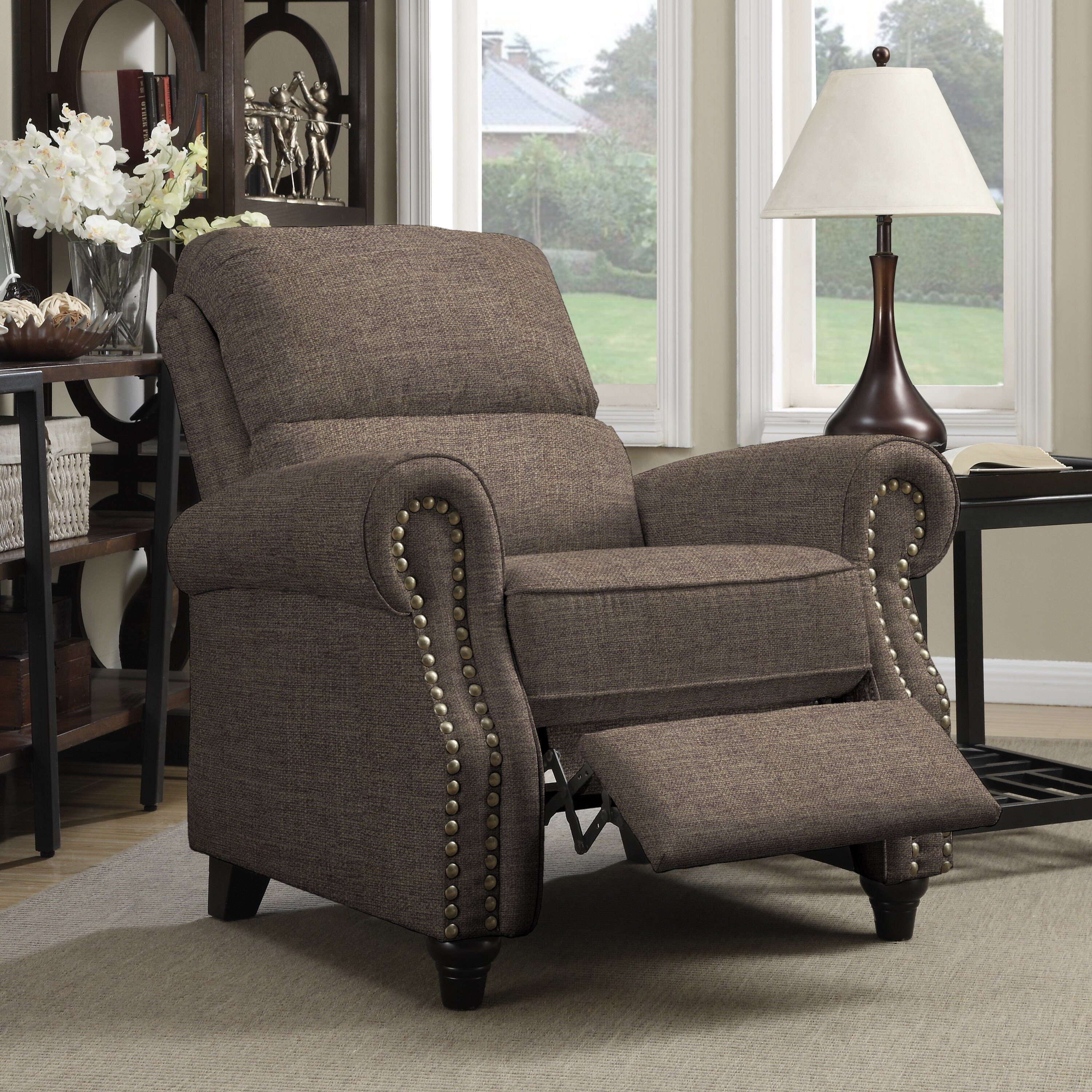 Pushback Recliner Chair Wall Hugger Reclining Arm Brown