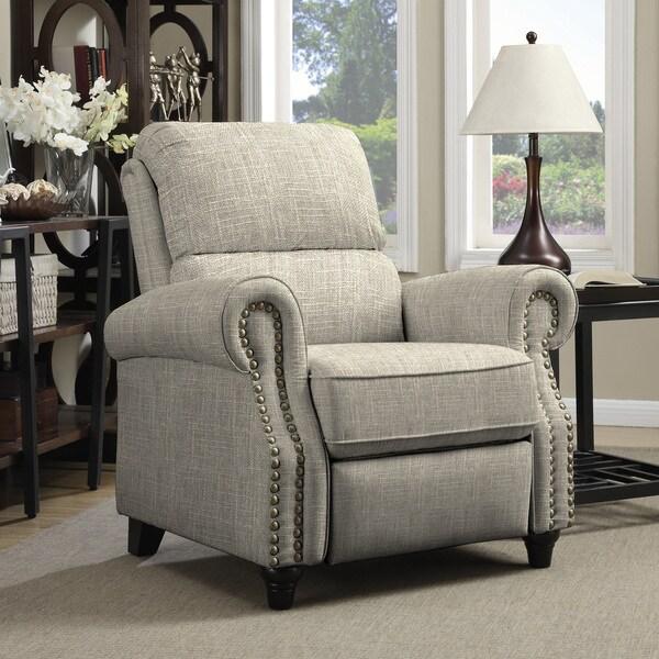Copper Grove Jessie Tan Linen Push Back Recliner Chair