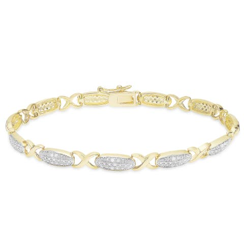 Finesque Gold Over Sterling Silver 1/3ct TDW Diamond XO Bracelet